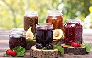 Hintergrundbilder Warenje Erdbeeren Brombeeren Himbeeren Weckglas Lebensmittel