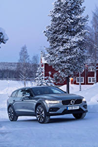 Hintergrundbilder Volvo Winter Metallisch 2018-19 V60 T5 Cross Country Autos
