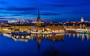 Fotos Schweden Stockholm Haus Flusse Schiffsanleger Schiffe Nacht