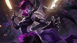 Bilder League of Legends Flügel Krallen Hand Morgana computerspiel Mädchens Fantasy