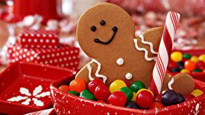 Bilder Neujahr Kekse Bonbon Süßigkeiten das Essen