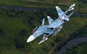 Fotos Flugzeuge Jagdflugzeug Soukhoï Su-30 Flug Russische SM Luftfahrt