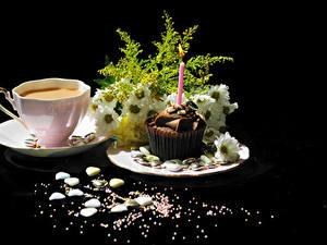 Bilder Kaffee Törtchen Sträuße Kamillen Schwarzer Hintergrund Tasse das Essen