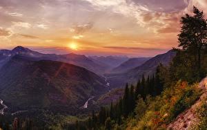 Hintergrundbilder USA Park Gebirge Sonnenaufgänge und Sonnenuntergänge Himmel Landschaftsfotografie Canyon Glacier National Park