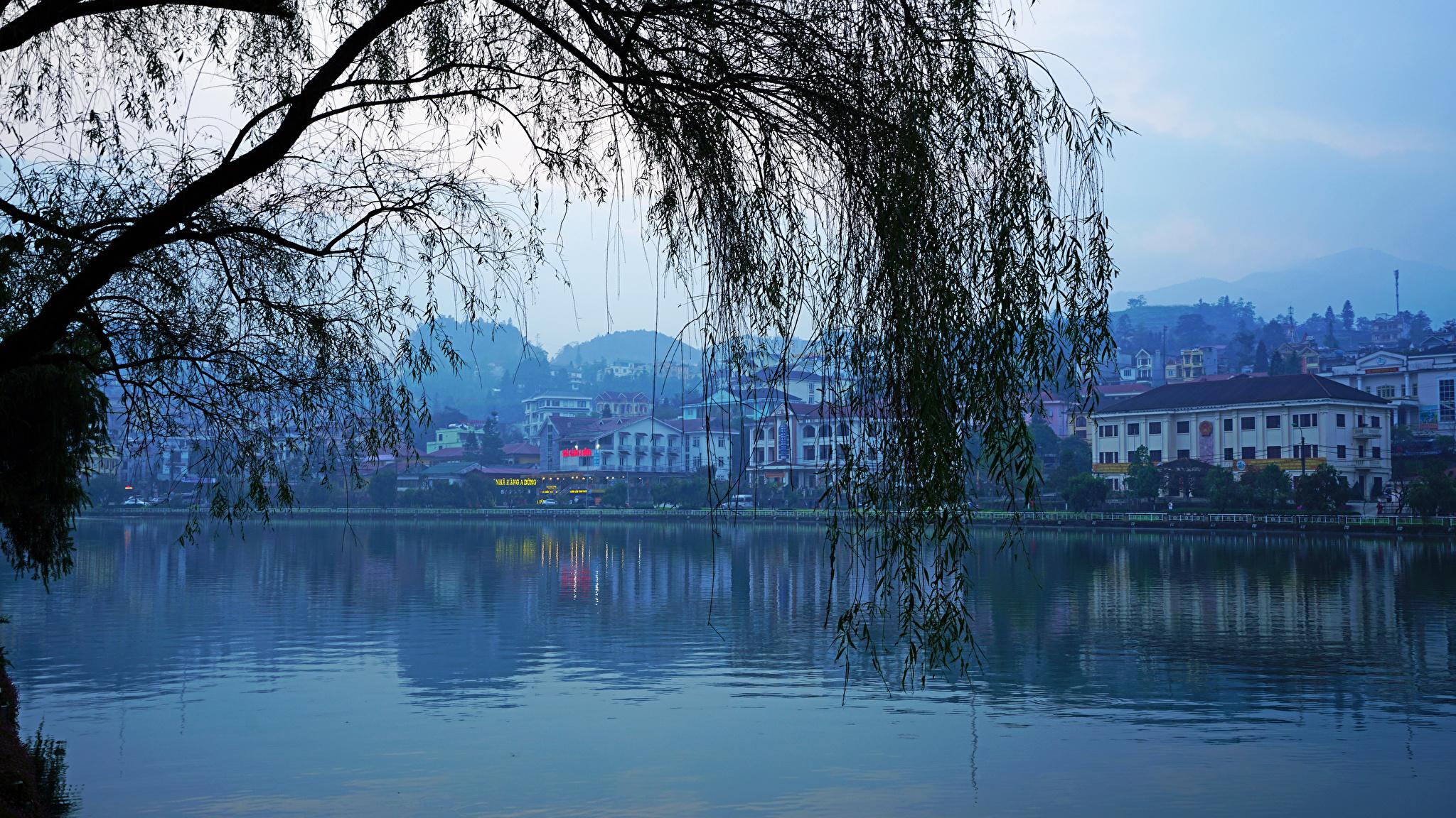 Bilder Vietnam Lao Cai Ast Abend Flusse Städte Gebäude 2048x1152 Haus