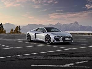 Bilder Audi Grau Metallisch Geparktes Audi R8 V10 2020 RWD Autos