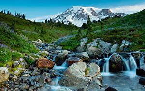 Fotos USA Park Gebirge Wasserfall Steine Landschaftsfotografie Bäche Mt Rainier National Park