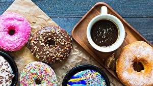 Fotos Donut Kakao Getränk Bretter Tasse Design Lebensmittel