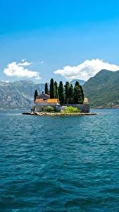 Hintergrundbilder Montenegro Insel Berg Bucht Bay Kotor, Perast Natur