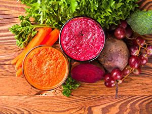 Fotos Gemüse Weintraube Mohrrübe Smoothie Rote Bete 2 Zwei Trinkglas