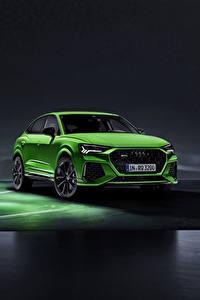 Desktop hintergrundbilder Audi Vorne Grün RS Q8 Autos