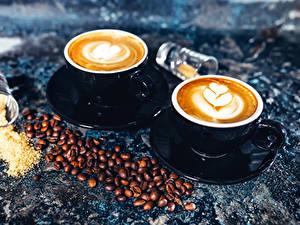 Bilder Kaffee Cappuccino Tasse Zwei Getreide Untertasse das Essen