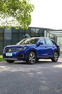Bilder Volkswagen Softroader Blau Metallisch 2020 Tayron GTE Autos