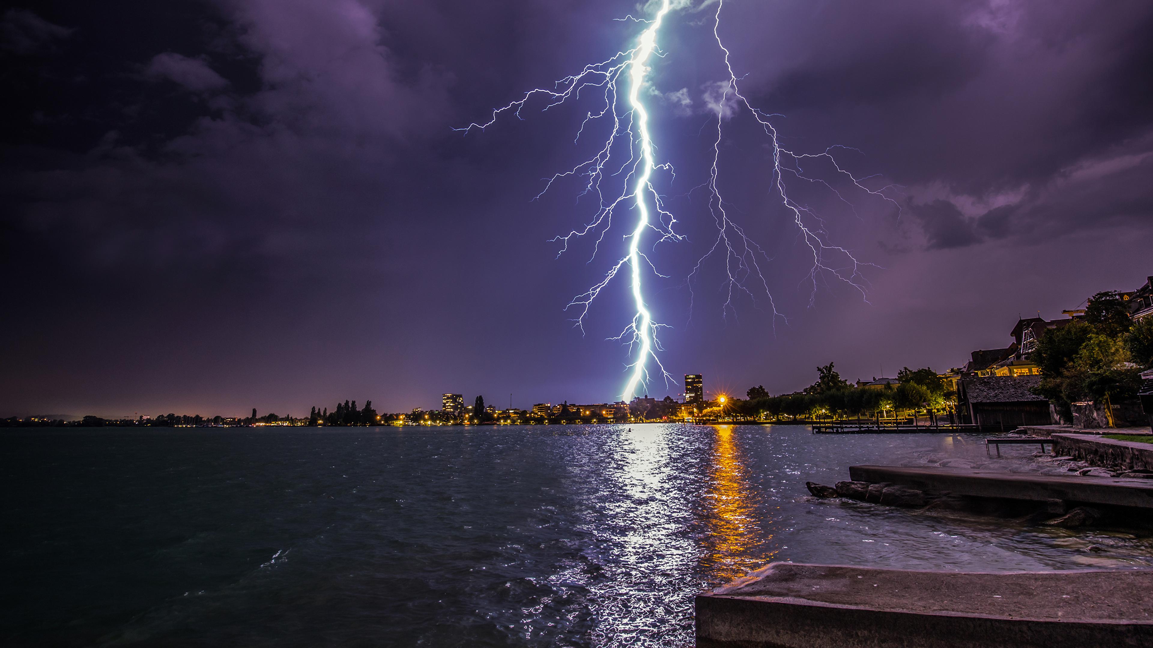 Image Switzerland Zugerberg Lightning Nature Lake Coast night time 3840x2160 lightning bolts Night