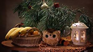 Bilder Neujahr Stillleben Bananen Kerzen Ast Weidenkorb das Essen