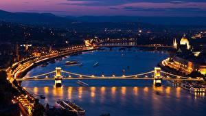 Hintergrundbilder Ungarn Budapest Fluss Brücke Nacht Danube, Chain bridge section Städte