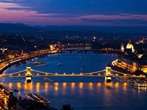 Hintergrundbilder Ungarn Budapest Fluss Brücke Nacht Danube, Chain bridge section