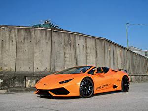 Hintergrundbilder Lamborghini Orange Metallisch Roadster 2016-18 VOS Performance Huracan Spyder