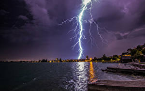 Wallpaper Switzerland Lake Coast Night time Lightning Zugerberg Nature