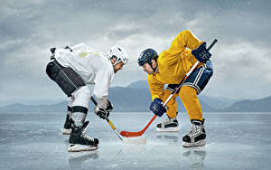 Wallpaper Hockey Men Ice rink Two Uniform Helmet