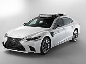 Fotos Lexus Tuning Grauer Hintergrund Weiß 2019 LS 500h TRI-P4 Research Vehicle Autos