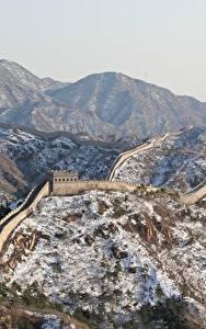 Fotos China Berg Winter Chinesische Mauer Schnee