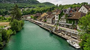 Bilder Frankreich Fluss Gebäude Schiffsanleger Straße Waterfront Chanaz
