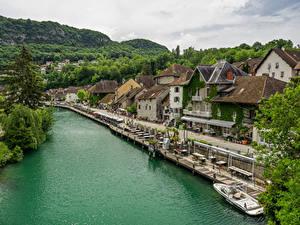 Bilder Frankreich Fluss Gebäude Schiffsanleger Straße Waterfront Chanaz Städte
