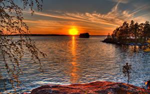 Bilder Finnland Sonnenaufgänge und Sonnenuntergänge Flusse Sonne Bäume Murikka