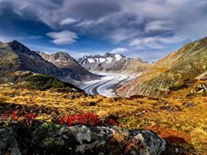 Desktop hintergrundbilder Berg Schweiz Alpen Aletsch Glacier Natur