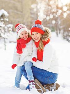 Image Winter 2 Little girls Smile Winter hat Scarf child