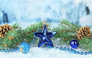 Hintergrundbilder Neujahr Ast Zapfen Kleine Sterne Kugeln