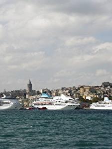 Fotos Türkei Istanbul Kreuzfahrtschiff Schiffe Seebrücke Meer Städte