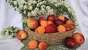 Picture Peaches Apples Plums Pears Wicker basket Food