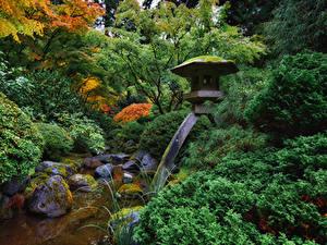 Hintergrundbilder USA Garten Steine Design Strauch Bäche Laubmoose Portland Japanese Garden Natur
