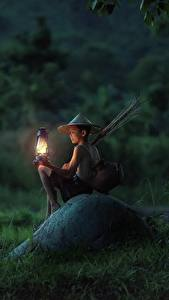 Picture Asian Stones Evening Sit Boys Grass Lamp Hat Children