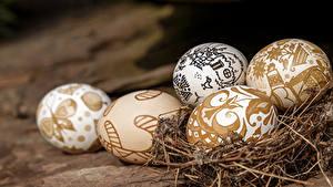 Fotos Feiertage Ostern Eier Nest Lebensmittel