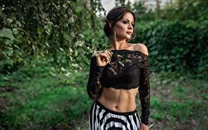 Hintergrundbilder Georgiy Dyakov Model Posiert Bauch Bluse junge Frauen