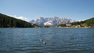 Hintergrundbilder Italien See Gebirge Landschaftsfotografie Alpen Schnee Lake Misurina