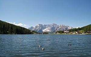 Hintergrundbilder Italien See Gebirge Landschaftsfotografie Alpen Schnee Lake Misurina Natur