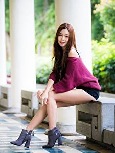 Wallpapers Asian Blurred background Posing Legs Beautiful Sweater Brown haired female