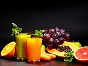 Bilder Fruchtsaft Obst Weintraube Orange Frucht Trinkglas