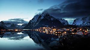 Photo Norway Lofoten Mountain Houses Evening Coast Village Reine Village Cities