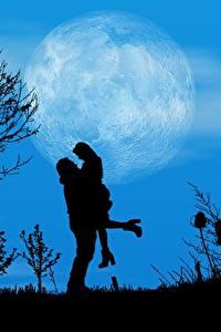 Hintergrundbilder Liebe Nacht Mond Bäume Silhouetten 2 Auf ein datum date