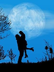 Hintergrundbilder Liebe Nacht Mond Bäume Silhouetten 2 Auf ein datum date Natur