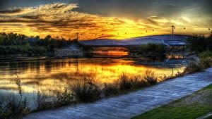 Fotos Spanien Flusse Brücke Sonnenaufgänge und Sonnenuntergänge Gras Zaragoza Aragon Natur