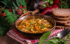 Bilder Suppe Brot Peperone Teller Schüssel Lebensmittel