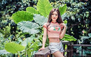 Hintergrundbilder Asiaten Shorts Bauch T-Shirt junge frau