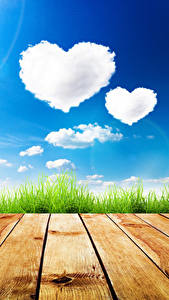 Bilder Himmel Valentinstag Bretter Gras Wolke Herz Natur