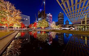 Fotos USA Haus Abend Teich Texas Lichterkette Dallas Städte